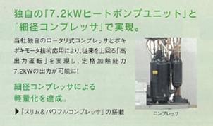 独自の「7.2kWヒートポンプユニット」と「細径コンプレッサ」で実現。
